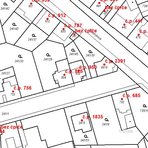 Katastrální mapa Stavební objekt Blansko 950, Blansko