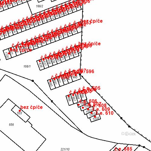Katastrální mapa Stavební objekt Adamov 596, Adamov