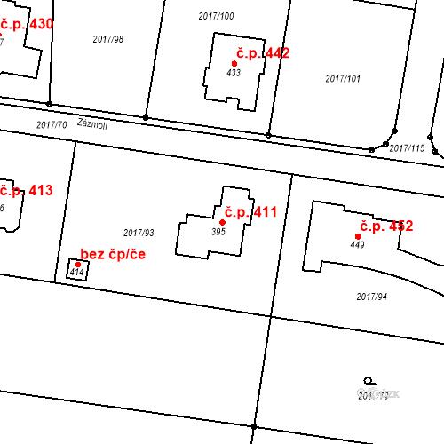 Katastrální mapa Stavební objekt Doubravice nad Svitavou 411, Doubravice nad Svitavou