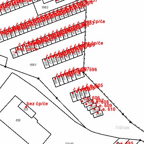 Katastrální mapa Stavební objekt Adamov 597, Adamov