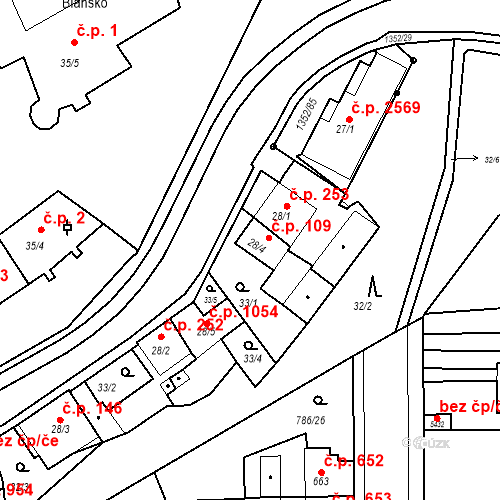 Katastrální mapa Stavební objekt Blansko 109, Blansko