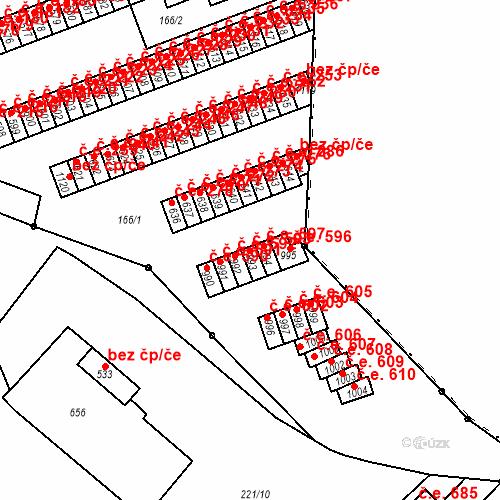 Katastrální mapa Stavební objekt Adamov 593, Adamov