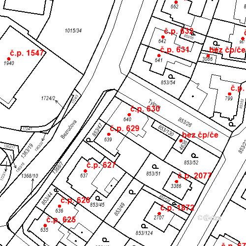 Katastrální mapa Stavební objekt Blansko 630, Blansko