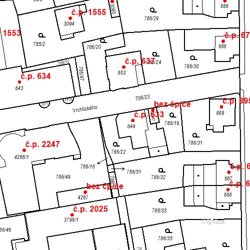 Katastrální mapa Stavební objekt Blansko 633, Blansko