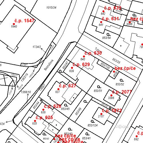 Katastrální mapa Stavební objekt Blansko 629, Blansko