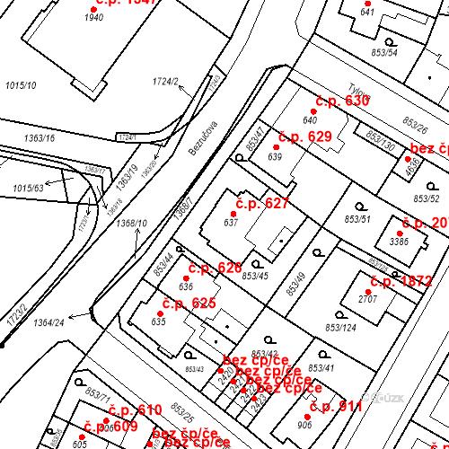 Katastrální mapa Stavební objekt Blansko 627, Blansko