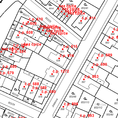 Katastrální mapa Stavební objekt Blansko 616, Blansko