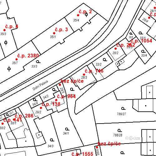 Katastrální mapa Stavební objekt Blansko 146, Blansko