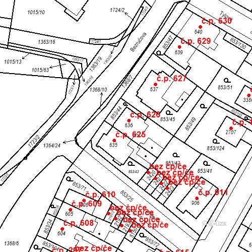 Katastrální mapa Stavební objekt Blansko 626, Blansko