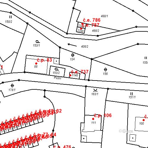Katastrální mapa Stavební objekt Adamov 737, Adamov