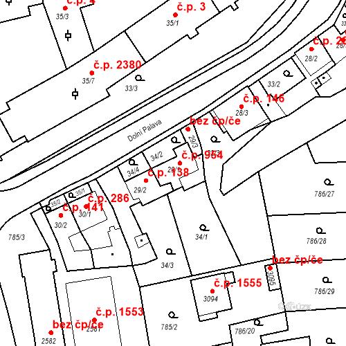 Katastrální mapa Stavební objekt Blansko 954, Blansko