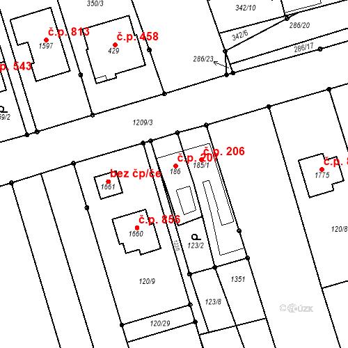 Katastrální mapa Stavební objekt Bílovice nad Svitavou 207, Bílovice nad Svitavou