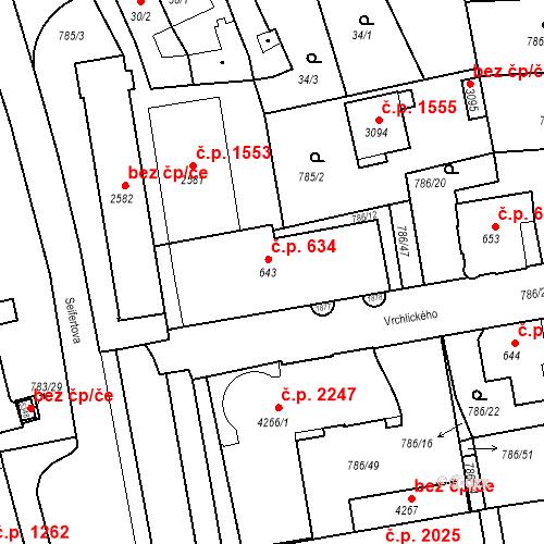 Katastrální mapa Stavební objekt Blansko 634, Blansko
