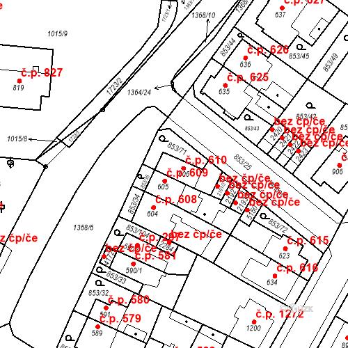 Katastrální mapa Stavební objekt Blansko 610, Blansko