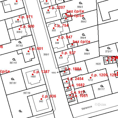 Katastrální mapa Stavební objekt Blansko 937, Blansko