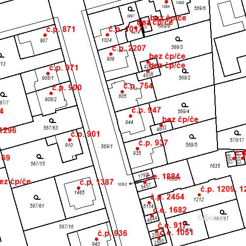 Katastrální mapa Stavební objekt Blansko 947, Blansko