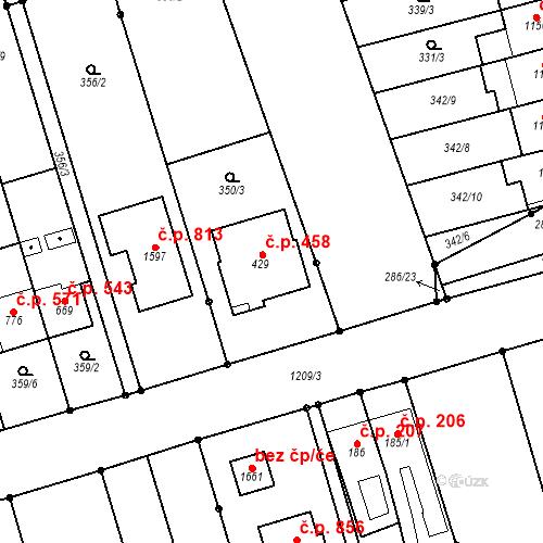 Katastrální mapa Stavební objekt Bílovice nad Svitavou 458, Bílovice nad Svitavou