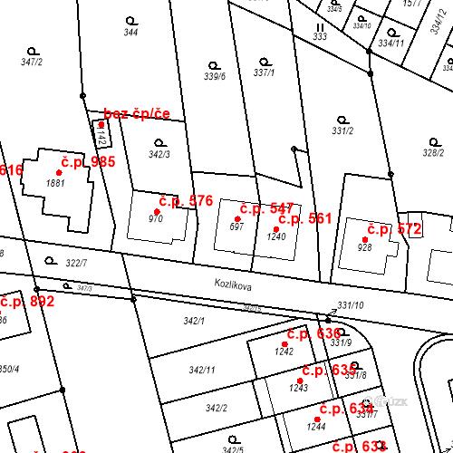Katastrální mapa Stavební objekt Bílovice nad Svitavou 547, Bílovice nad Svitavou