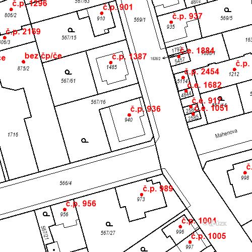 Katastrální mapa Stavební objekt Blansko 936, Blansko