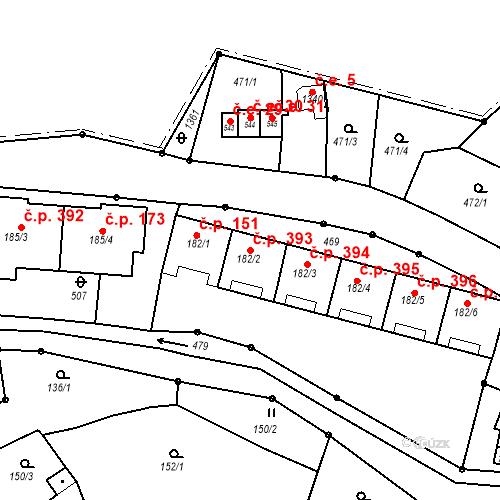 Katastrální mapa Stavební objekt Adamov 393, Adamov
