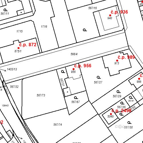 Katastrální mapa Stavební objekt Blansko 956, Blansko