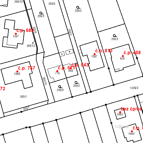 Katastrální mapa Stavební objekt Bílovice nad Svitavou 543, Bílovice nad Svitavou