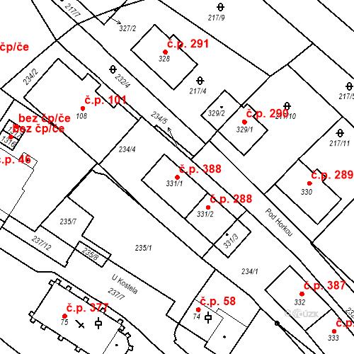 Katastrální mapa Stavební objekt Adamov 388, Adamov