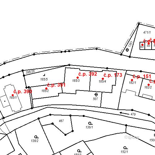 Katastrální mapa Stavební objekt Adamov 392, Adamov