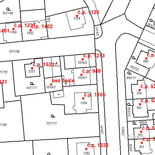 Katastrální mapa Stavební objekt Blansko 949, Blansko