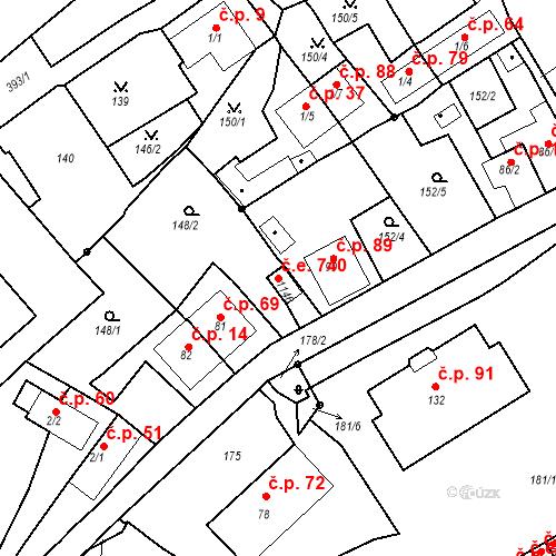 Katastrální mapa Stavební objekt Adamov 740, Adamov
