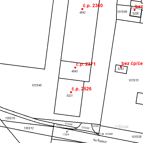 Katastrální mapa Stavební objekt Blansko 2371, Blansko