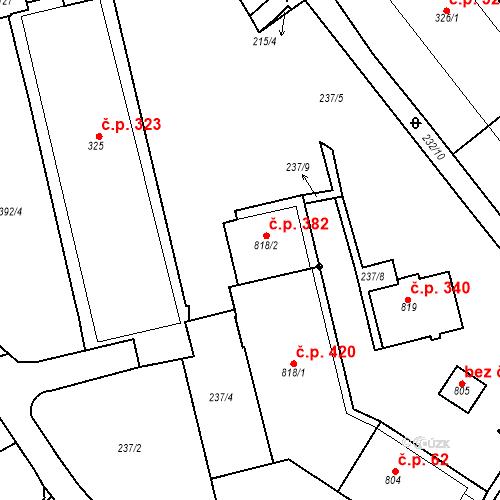 Katastrální mapa Stavební objekt Adamov 382, Adamov