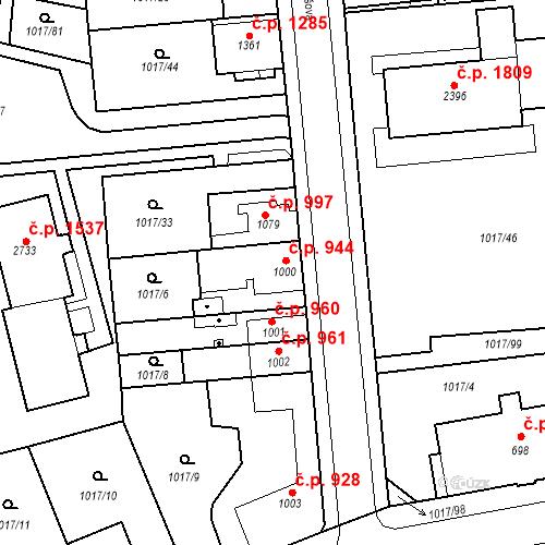 Katastrální mapa Stavební objekt Blansko 944, Blansko