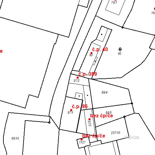 Katastrální mapa Stavební objekt Adamov 389, Adamov