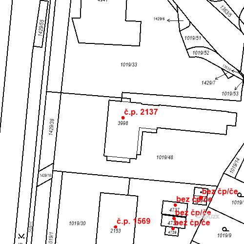 Katastrální mapa Stavební objekt Blansko 2137, Blansko