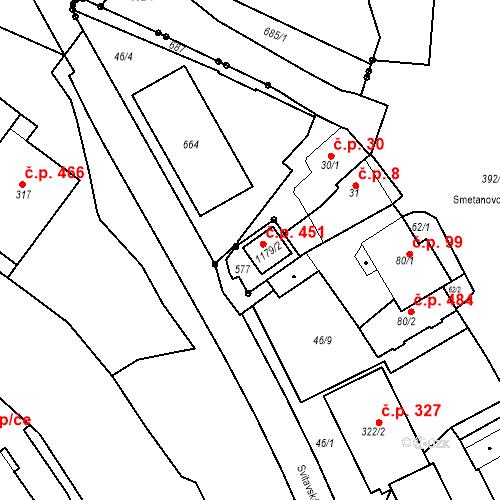 Katastrální mapa Stavební objekt Adamov 451, Adamov