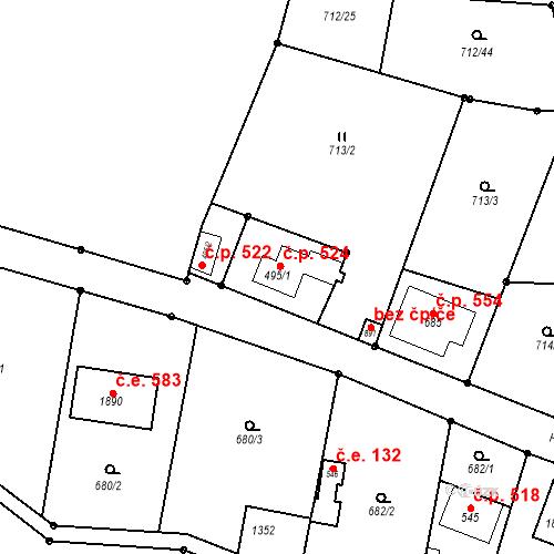Katastrální mapa Stavební objekt Bílovice nad Svitavou 524, Bílovice nad Svitavou