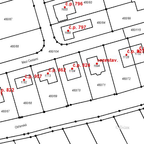 Katastrální mapa Stavební objekt Bílovice nad Svitavou 824, Bílovice nad Svitavou