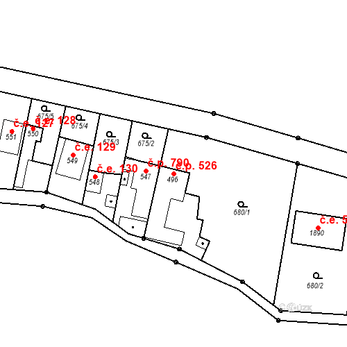 Katastrální mapa Stavební objekt Bílovice nad Svitavou 526, Bílovice nad Svitavou