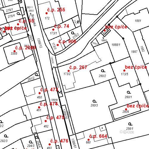 Katastrální mapa Stavební objekt Blansko 267, Blansko