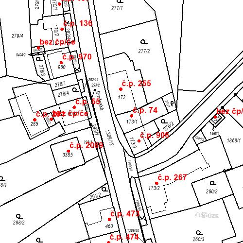 Katastrální mapa Stavební objekt Blansko 74, Blansko