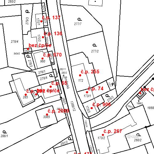 Katastrální mapa Stavební objekt Blansko 255, Blansko