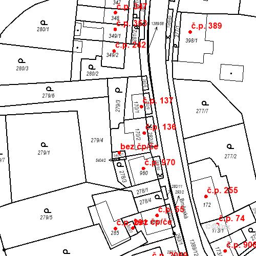 Katastrální mapa Stavební objekt Blansko 136, Blansko
