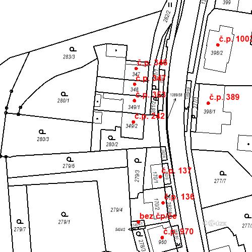 Katastrální mapa Stavební objekt Blansko 242, Blansko