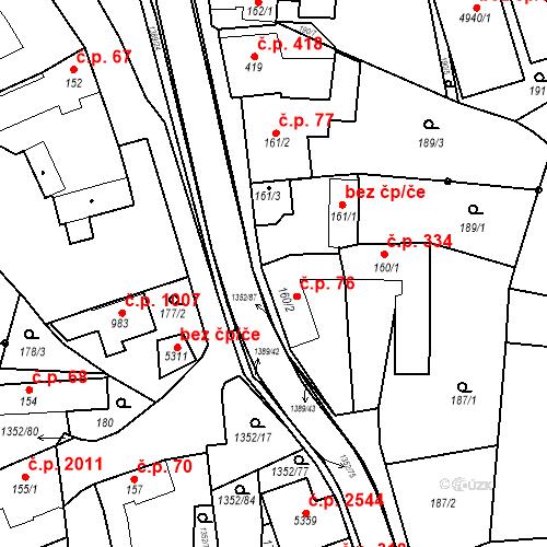 Katastrální mapa Stavební objekt Blansko 76, Blansko