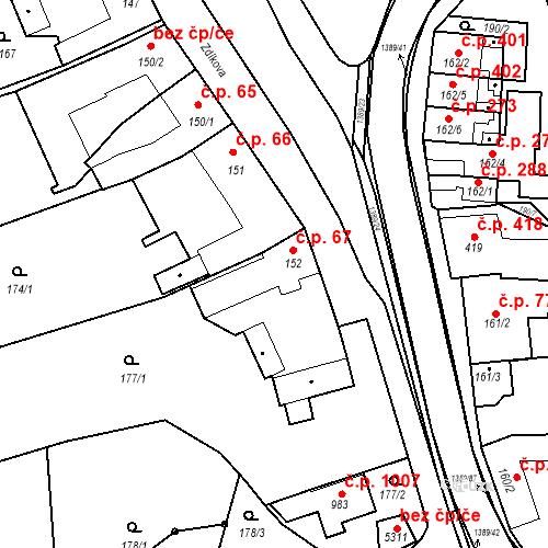 Katastrální mapa Stavební objekt Blansko 67, Blansko