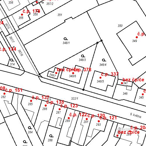 Katastrální mapa Stavební objekt Jestřebí 378, Rájec-Jestřebí