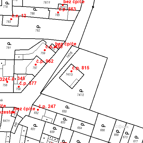 Katastrální mapa Stavební objekt Tuřany 815, Brno