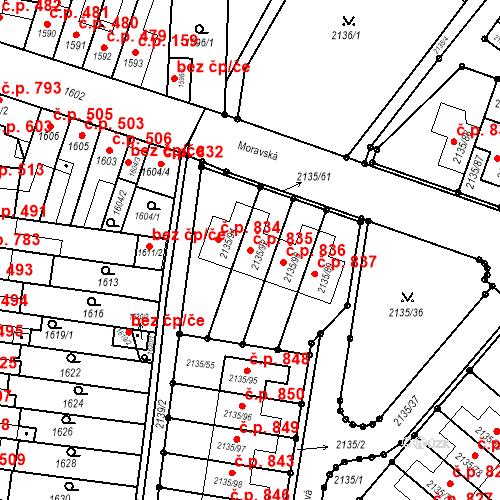 Katastrální mapa Stavební objekt Tuřany 835, Brno