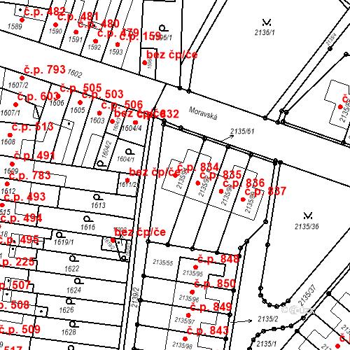 Katastrální mapa Stavební objekt Tuřany 834, Brno